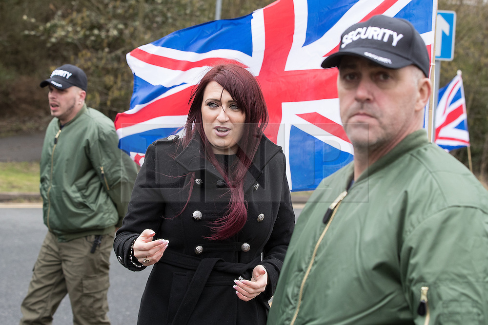 © Licensed to London News Pictures. 25/02/2017. Telford, UK. Britain First deputy leader Jayda Fransen at a demonstration in Telford , opposed by anti-fascist groups . Britain First say they are highlighting concerns about child sexual exploitation in the town . Photo credit: Joel Goodman/LNP