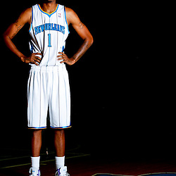 December 14, 2011; New Orleans, LA, USA; New Orleans Hornets forward Trevor Ariza (1) poses for a photo during Media Day at the New Orleans Arena.   Mandatory Credit: Derick E. Hingle-US PRESSWIRE