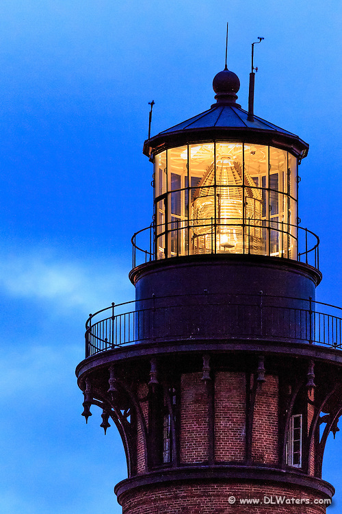 Top of Currituck Beach Lighthouse in early twilight on the Outer Banks, NC.