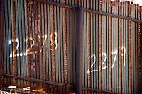 U.S. International Border Rusty Metal Fence Markers, Border Field State Park, California