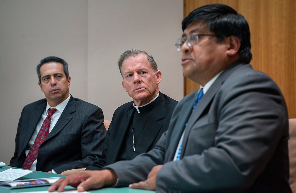 "em031617a/a/From left, Rep Antonio ""Moe"" Maestas, D-Albuquerque, Archbishop of Santa Fe John Wester and Lt. Gov. of Pueblo of Acoma Raymond Concho Jr., held a news conference to urge senators to revisit a bill that was tabled that would allow money from the State's permanent fund be used for early childhood education. This was at the State Capitol in Santa Fe Thursday March 16, 2017.   (Eddie Moore/Albuquerque Journal"
