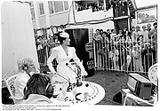 Joan Collins and members of the public at Derby Day. Epson. 4/6/86 Film 86407f24<br />