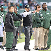 New York Jets head coach Rex Ryan, (centre), on the sideline with his coaching staff during the New York Jets Vs Miami Dolphins  NFL American Football game at MetLife Stadium, East Rutherford, NJ, USA. 1st December 2013. Photo Tim Clayton