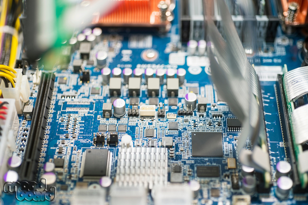 Close-up of computer circuit board in manufacturing industry