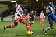 Aaron O'Connor (Stevenage) crosses the ball into the penalty box during the Sky Bet League 2 match between Hartlepool United and Stevenage at Victoria Park, Hartlepool, England on 9 February 2016. Photo by Mark P Doherty.