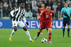 10.04.2013, Juventus Stadium, Turin, ITA, UEFA Champions League, Juventus Turin vs FC Bayern Muenchen, Viertelfinale, Rueckspiel, im Bild l-r: Zweikampf zwischen Paul POGBA (Juventus Turin) und Franck RIBERY (FC Bayern Muenchen) // during the UEFA Champions League best of eight 2nd leg match between Juventus FC and FC Bayern Munich at the Juventus Stadium, Torino, Italy on 2013/04/10. EXPA Pictures © 2013, PhotoCredit: EXPA/ Eibner/ Global..***** ATTENTION - AUSTRIA ONLY *****