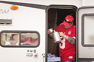 Shon Bernard, 35, or Lewisburg, W.V. makes a pot of cofffee in his RV prior to Nebraska's 14-13 loss at Illinois on Oct. 3, 2015. Photo by Aaron Babcock