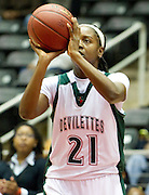 A'Shanti Weathers (21) of Mississippi Valley State University shoots the ball against Arkansas-Pine Bluff during the SWAC semi-finals at the Curtis Culwell Center in Garland on Friday, March 15, 2013. (Cooper Neill/The Dallas Morning News)