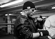 February 17, 2009; Bronx, NY;  Miguel Cotto works out for his upcoming WBO Welterweight Championship bout against Michael Jennings.  The two will meet at Madison Square Garden on February 21, 2009.