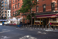 East 81st street between Third and Lexington Ave, showing the Citi bike racks; New York City.