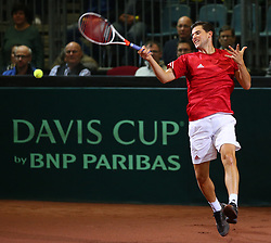 03.02.2018, VAZ, St. Pölten, AUT, Davis Cup, Österreich vs Weissrussland, Europa-Afrika-Zone, 1. Runde, im Bild Dominic Thiem (AUT) am Samstag, 03. Februar 2018, waehrend seines Spiels gegen Ilya Ivashka (BLR) // Dominic Thiem of Austria during the Davis Cup - Europe - African zone - 1st Round between Austria and Belarus at the VAZ in St. Pölten, Austria on 2018/02/03. EXPA Pictures © 2018, PhotoCredit: EXPA/ Thomas Haumer