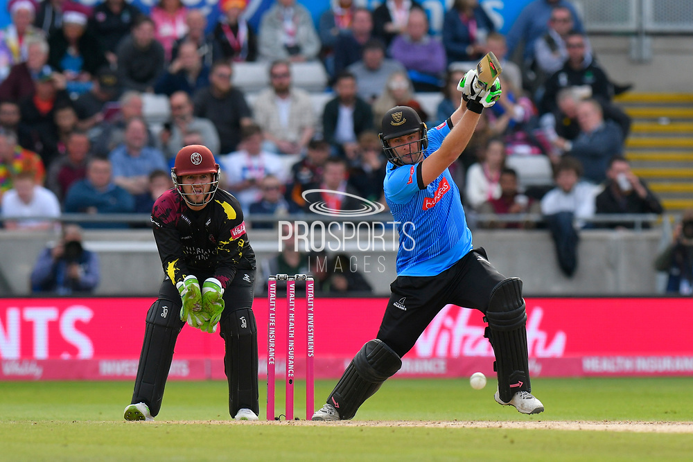 Luke Wright of Sussex plays an attacking shot during the Vitality T20 Finals Day Semi Final 2018 match between Worcestershire Rapids and Lancashire Lightning at Edgbaston, Birmingham, United Kingdom on 15 September 2018.