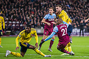 GOAL: Angelo Ogbonna (West Ham) scores a goal to give West Ham the lead during the Premier League match between West Ham United and Arsenal at the London Stadium, London, England on 9 December 2019.