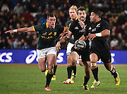 JOHANNESBURG, South Africa, 25 July 2015 : Lima Sopoaga of the All Blacks gets across the advantage line with Conrad Smith in support during the Castle Lager Rugby Championship test match between SOUTH AFRICA and NEW ZEALAND at Emirates Airline Park in Johannesburg, South Africa on 25 July 2015. Bokke 20 - 27 All Blacks<br /> <br /> © Anton de Villiers / SASPA