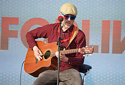 LIVERPOOL, ENGLAND - Monday, May 9, 2016: A musician at the launch of the New Balance 2016/17 Liverpool FC kit at a live event in front of supporters at the Royal Liver Building on Liverpool's historic World Heritage waterfront. (Pic by David Rawcliffe/Propaganda)