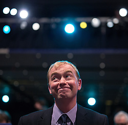 ** FILE PIC - Tim Farron has been elected leader of the Liberal Democrat Party** © Licensed to London News Pictures . 07/10/2014 . Glasgow , UK . TIM FARRON , President of the Liberal Democrats and MP for Westmorland and Lonsdale , sits as the audience applaud his speech to the conference . The Liberal Democrat Party Conference 2014 at the Scottish Exhibition and Conference Centre in Glasgow . Photo credit : Joel Goodman/LNP