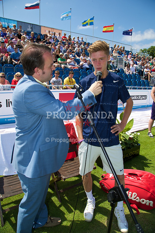 LIVERPOOL, ENGLAND - Saturday, June 21, 2014: Andrey Rublev (RUS) during Day Three of the Liverpool Hope University International Tennis Tournament at Liverpool Cricket Club. (Pic by David Rawcliffe/Propaganda)