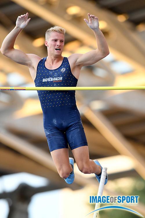 Ben Broeders (BEL) places fourth in the pole vault at 18-4½  (5.60m) during the Meeting de Paris, Saturday, Aug. 24, 2019, in Paris. (Jiro Mochizuki/Image of Sport via AP)