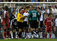 Photo: Daniel Hambury.<br />Tottenham Hotspur v Fulham. The Barclays Premiership.<br />26/09/2005.<br />Fulham's goal keeper Tony Warner is given a telling off by referee Alan Wiley after going up the other end for a corner.