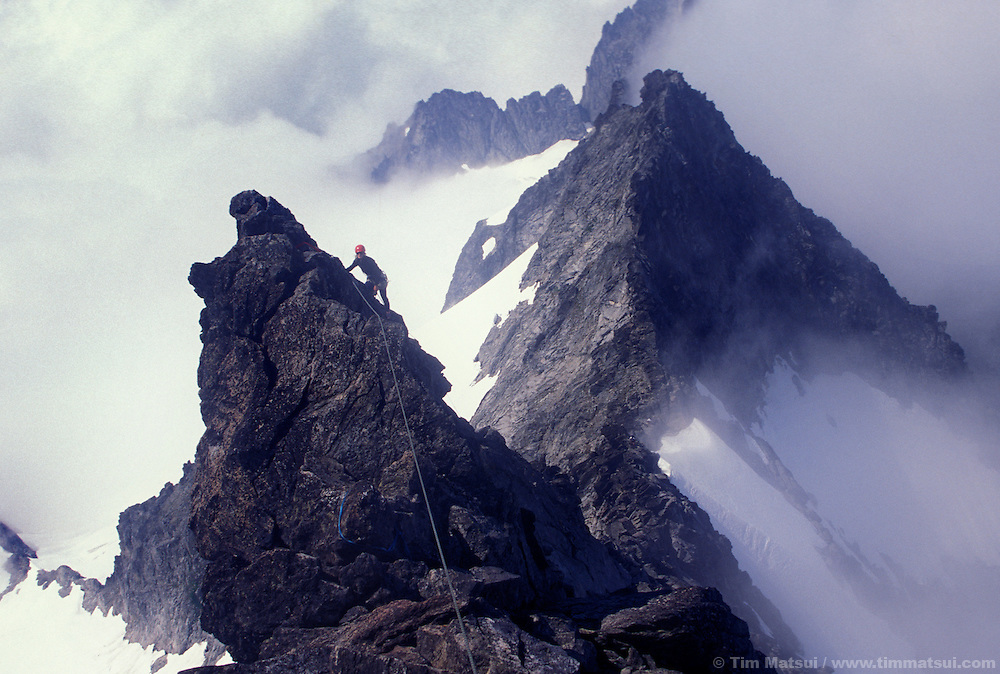 A climber on the west ridge of Forbidden Peak in the North Cascades National Park.