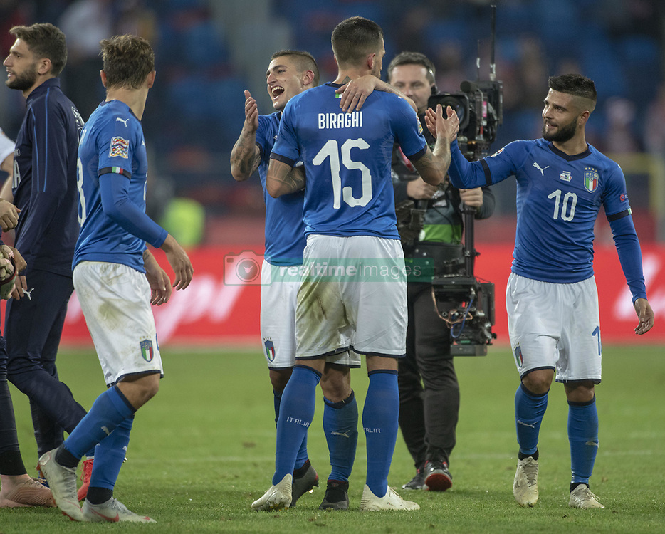 October 14, 2018 - Chorzow, Poland - Italian players celebrate during the UEFA Nations League A match between Poland and Italy at Silesian Stadium in Chorzow, Poland on October 14, 2018  (Credit Image: © Andrew Surma/NurPhoto via ZUMA Press)