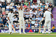 Stuart Broad of England reacts after Cheteshwar Pujara of India got a thick edge during day two of the fourth SpecSavers International Test Match 2018 match between England and India at the Ageas Bowl, Southampton, United Kingdom on 31 August 2018.