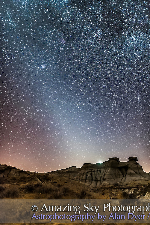 The late winter evening Zodiacal Light, as shot at Dinosaur Provincial Park, Alberta, February 28, 2017. The Light is the glow from sunlight reflecting off cometary dust particles in the inner solar system. It is not an effect of twilight. It is best visible in the evening from northern latitudes in late winter and spring. <br /> <br /> Venus is just setting above the badlands landscape. The Andromeda Galaxy is at right, the Pleiades at left. The Milky Way runs across the frame at top.<br /> <br /> This is a stack of 7 x 30-second exposures for the ground, mean combined for lower noise, plus one 30-second exposure for the sky, all at f/2 with the 20mm Sigma Art lens, and Nikon D750 at ISO 6400.