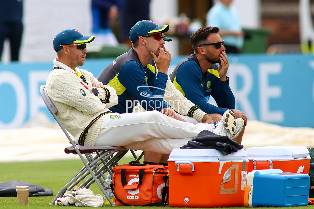 David Warner of Australia watches the action during the Tour Match match between Derbyshire County Cricket Club and Australia at the Pattonair County Ground, Derby, United Kingdom on 29 August 2019.