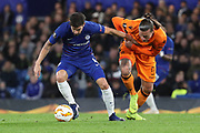 Cesc Fabregas of Chelsea (4) battles for possession with Aleksandat Privovic of PAOK FC (9) during the Champions League group stage match between Chelsea and PAOK Salonica at Stamford Bridge, London, England on 29 November 2018.