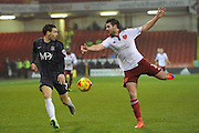 Southend United midfielder David Worrall,Sheffield United defender Robert Harris during the Sky Bet League 1 match between Sheffield Utd and Southend United at Bramall Lane, Sheffield, England on 14 November 2015. Photo by Ian Lyall.