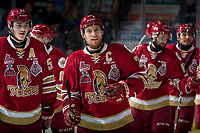 REGINA, SK - MAY 19: Jeffrey Truchon-Viel #25 of Acadie-Bathurst Titan is all smiles after the game win in overtime against the Swift Current Broncos at the Brandt Centre on May 19, 2018 in Regina, Canada. (Photo by Marissa Baecker/CHL Images)