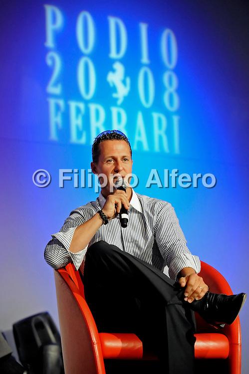 &copy; Ferrari / LaPresse / Filippo Alfero<br /> Fiorano (MO), 26/06/2008<br /> motori<br /> Podio Ferrari 2008 - Incontro annuale con i fornitori ed i partners di Ferrari<br /> Nella foto: Michael Schumacher<br /> <br /> &copy; Ferrari / LaPresse / Filippo Alfero<br /> Fiorano , Italy , 26/06/2008<br /> Podio Ferrari 2008 - Ferrari annual meeting with suppliers and partners<br /> In the photo: Michael Schumacher