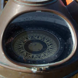 Compass on Deck of SV Maple Leaf, Gulf Islands, British Columbia, Canada