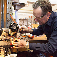 Frances Maloney working in his workshop at his Garden Machinery Shop in Smithstown