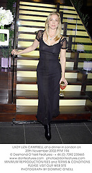 LADY LIZA CAMPBELL at a dinner in London on 20th November 2002.	PFM 194