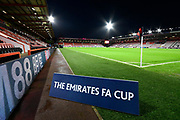 General view inside the Vitality Stadium with The Emirates FA Cup branding ahead of the The FA Cup match between Bournemouth and Arsenal at the Vitality Stadium, Bournemouth, England on 27 January 2020.