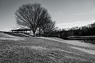 Black and white landscape photo taken on a winter afternoon in Lake  Fairfax Park, Reston VA.