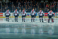 KELOWNA, CANADA - FEBRUARY 7:  Kyle Topping #24, Kole Lind #16, Ted Brennan #10, Kaedan Korczak #6, Gordie Ballhorn #4 and Brodan Salmond #31 of the Kelowna Rockets line up against the Vancouver Giants on February 7, 2018 at Prospera Place in Kelowna, British Columbia, Canada.  (Photo by Marissa Baecker/Shoot the Breeze)  *** Local Caption ***