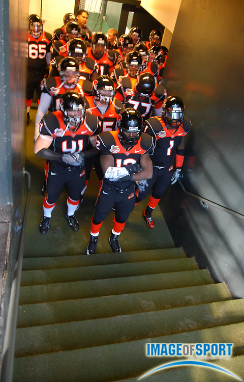 Dec 28, 2007; San Francisco, CA, USA; Oregon State Beavers players prepare to take the field before the Emerald Bowl at AT&T Park.