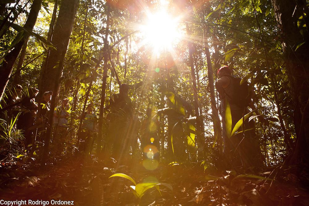 Visitors listen to a briefing at the Arsari Lestari conservation forest in Penajam Paser Utara district, East Kalimantan, Indonesia, on March 12, 2016. <br /> (Photo: Rodrigo Ordonez)