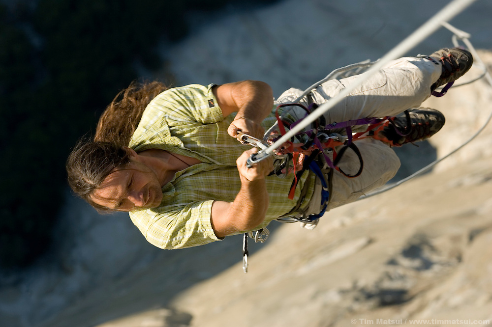Athlete Alex Huber prepares for a shoot at dawn on top of El Capitan for the filming of Am Limit, a Lotus Film production, about the climbing brothers Alexander and Thomas Huber and their attempt to break the speed climbing record on the Nose of El Capitan in Yosemite National Park, California, USA.