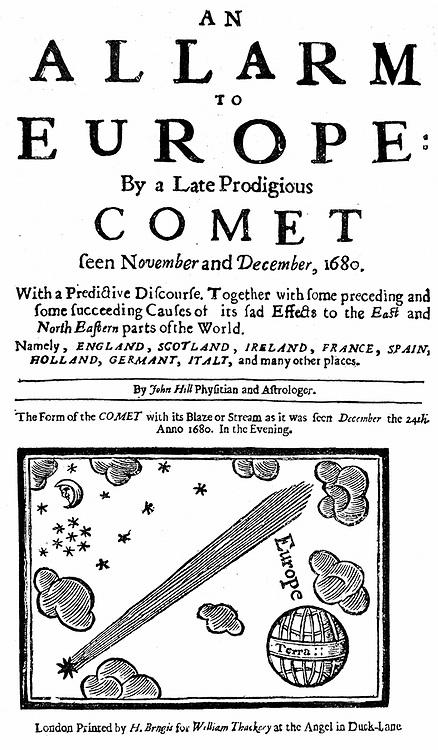 Title page of pamphlet by John Hill on the comet of December 1680 (Kirch).  At this date comets were still considered by many people to be phenomena of ill omen and were viewed with superstitious awe.