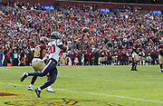 Nov 18, 2018; Landover, MD, USA; Houston Texans strong safety Justin Reid (20) intercepts a pass intended for Washington Redskins tight end Jordan Reed (86) at FedEx Field. Reid scored a touchdown on the play making it a pick six. The Texans beat the Redskins 23-21. (Steve Jacobson/Image of Sport)