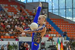 July 28, 2018 - Chieti, Abruzzo, Italy - Rhythmic gymnast Olena Diachenko of Ukraine performs her ball routine during the Rhythmic Gymnastics pre World Championship Italy-Ukraine-Germany at Palatricalle on 29th of July 2018 in Chieti Italy. (Credit Image: © Franco Romano/NurPhoto via ZUMA Press)