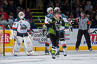 KELOWNA, CANADA -FEBRUARY 7:  Curtis Lazar #27 of the Edmonton Oil Kings celebrates a goal against the Kelowna Rockets on February 7, 2014 at Prospera Place in Kelowna, British Columbia, Canada.   (Photo by Marissa Baecker/Getty Images)  *** Local Caption *** Curtis Lazar;