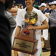Skylar Diggins, Notre Dame, with the trophy after the Connecticut V Notre Dame Final match won by Notre Dame 61-59 during the Big East Conference, 2013 Women's Basketball Championships at the XL Center, Hartford, Connecticut, USA. 11th March. Photo Tim Clayton