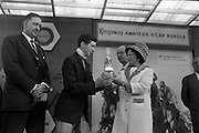 10/05/1965<br /> 05/10/1965<br /> 10 May 1965<br /> Mrs. T. W. Irvine, right, presents the Jockey's Prize to Mr. D. K. Weld after the Leoparsdtown Races on May 10, 1965. Also pictured are Mr. D. R. Mott, left, managing director of Wills of Dublin and Cork, and Mr. F. Clark, centre, manager of the Leopardstown Racecourse.