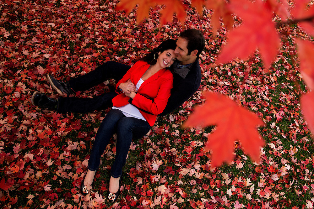 Effie Papanastasiou and Deno Charchalis during an engagement session in Denver, Friday, Oct. 25, 2013. Photo by Justin Edmonds