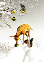 Wherever those Christmas decorations came from, one can't say for sure. It seems possible that they could have fallen off a truck. Regardless, the animals in this scene are fascinated by the Christmas ornaments. Squirrels, a deer, and some birds study the ornament carefully. This is a humorous moment that has a stunning white wonderland as its backdrop. This is a perfect moment captured in time for those who love Christmas and winter. There is a great tranquility to this scene. This piece is available as cards, or as a variety of different home interior décor products.