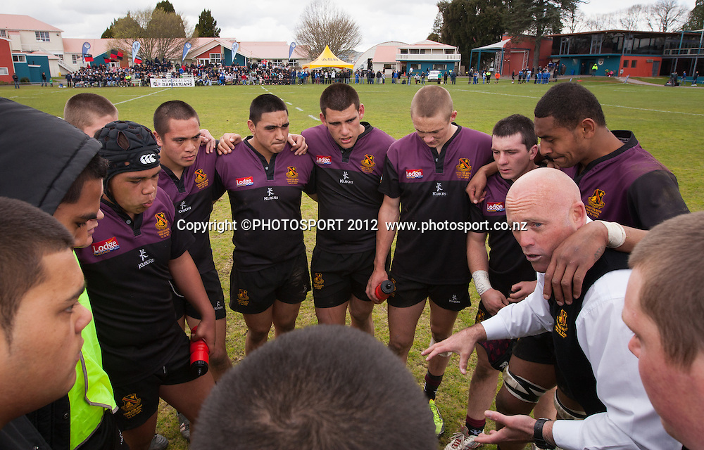 HBHS supporter Andrew Hay talks to the team at half time during the College 1st XV Rugby Semi Final - St Kent's v Hamilton BHS won by St Kent's 29-13, at Rotorua Boys High School, Rotorua, New Zealand, Saturday 8 September 2012.  Photo: Stephen Barker/Photosport.co.nz